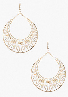 bebe Art Deco Drop Hoop Earring