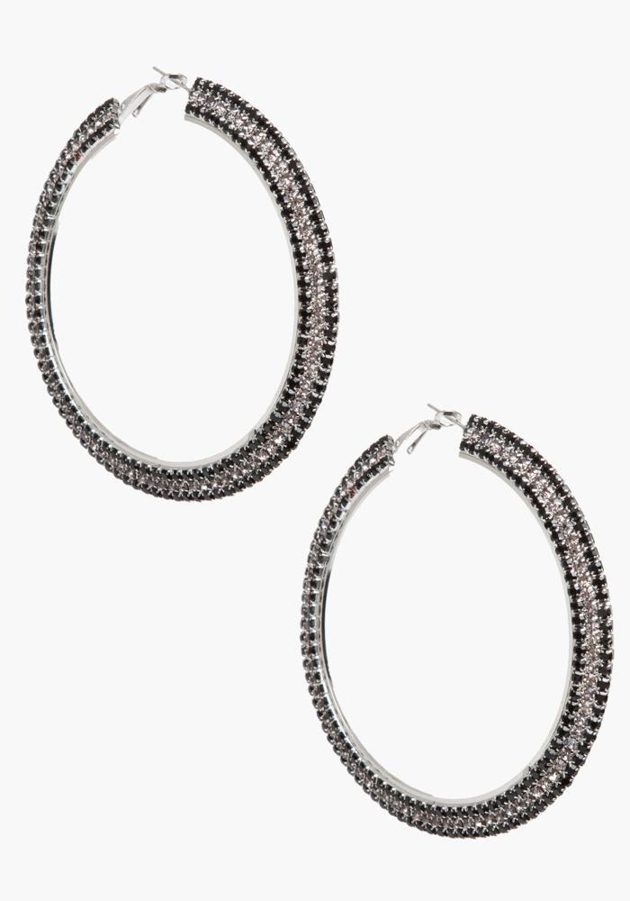 Three Row Stone Hoop Earrings