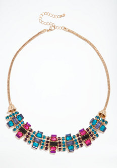 bebe Multicolor Faceted Stone Necklace