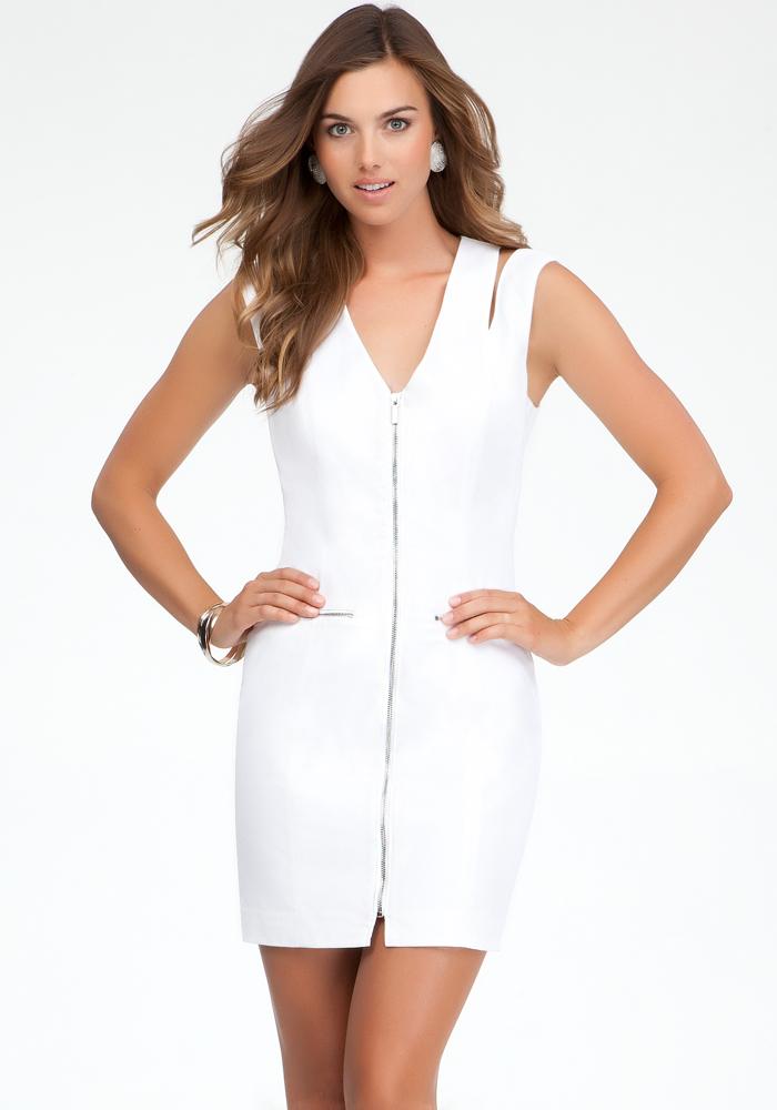Zipper Front Shoulder Cutout Dress