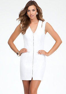 bebe Zipper Front Shoulder Cutout Dress