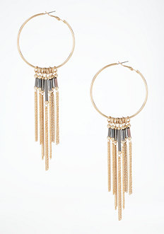 bebe Hoop & Fringe Earrings