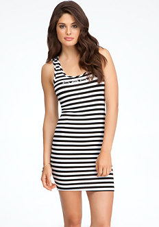 bebe Logo Stripe Dress