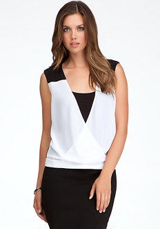 bebe Wrap Colorblock Top