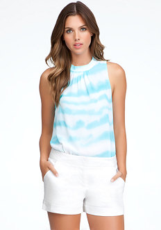 bebe Mock Neck Sleeveless Print Bodysuit
