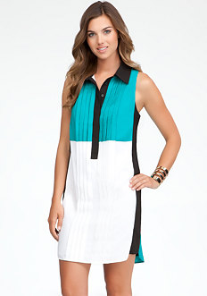 bebe Colorblock Pintuck Dress