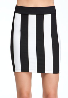 bebe Vertical Stripe Mini Skirt