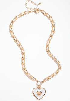 bebe Logo Heart Chain Necklace - ONLINE EXCLUSIVE