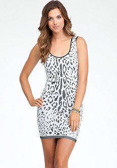 bebe Leopard Pattern Dress