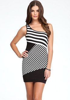 bebe Stripe One Shoulder Dress