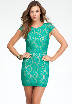 bebe Crisscross Back Lace Dress