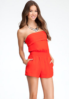 bebe Viper Pleat Detail Romper