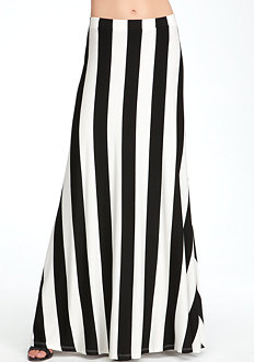 bebe Vertical Rugby Stripe Maxi Skirt