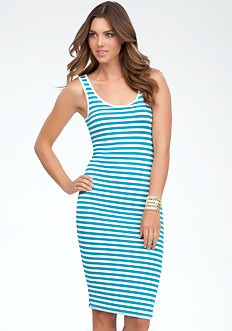 bebe Stripe Scoop Neck Midi Dress
