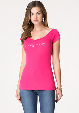 Double V-Neck Logo Tee at bebe