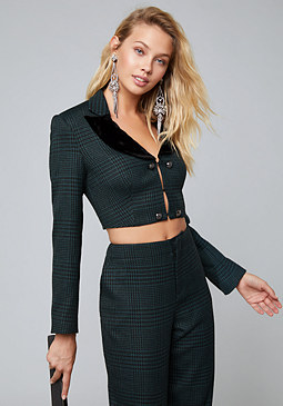 bebe Houndstooth Crop Jacket