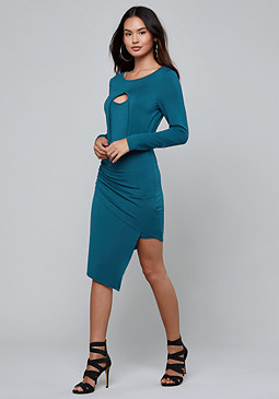 bebe Cutout Asymmetric Dress