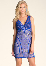 V Neck Lace Dress at bebe
