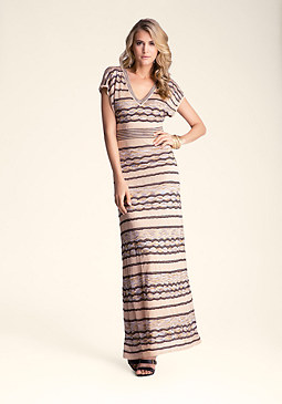 bebe Wave Stitch Maxi Dress
