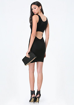 Back Cutout Shine Dress at bebe