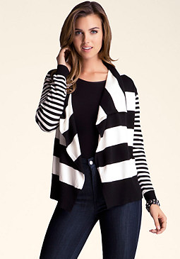 bebe Striped Drape Cover Up