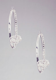 Rhinestone Heart Hoop Earrings at bebe