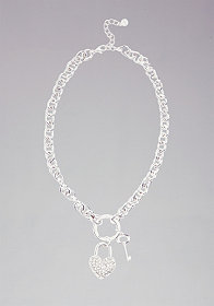 Rhinestone Heart Padlock Necklace at bebe