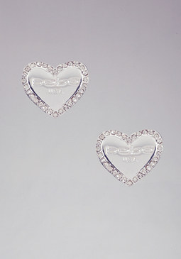 Logo Heart Stud Earrings at bebe