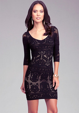 bebe Lace Drama Bodycon Dress