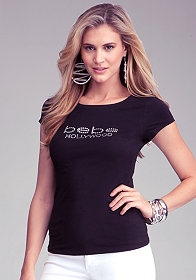 Logo Hollywood Crew Tee at bebe