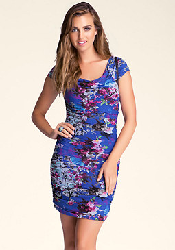 bebe Printed Mesh Zipper Dress