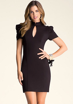 bebe Kristie Pleated Sleeve Dress