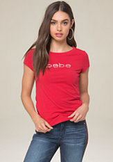 Basic Logo Rhinestone Tee at bebe