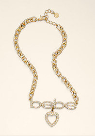 Logo Rhinestone Heart Necklace at bebe