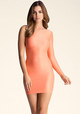 bebe One Sleeve Shiny Pintuck Dress