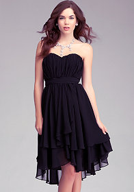 bebe Pleated Strapless Layer Skirt Dress -Rami Kashou