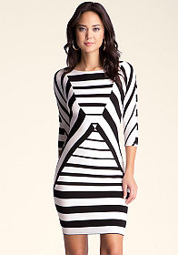 bebe Diamond Stripe Boatneck Dress