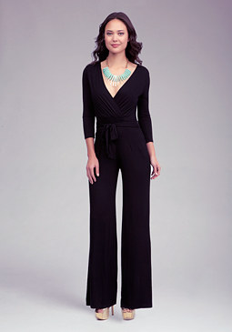Surplice Neckline Knit Jumpsuit at bebe