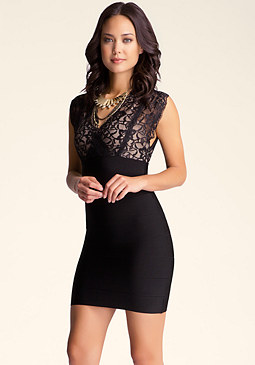 Cutout Lace Bandage Dress at bebe
