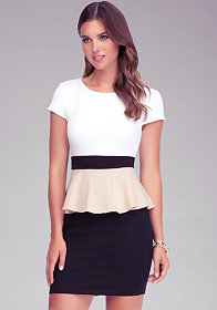 Colorblock Peplum Top at bebe