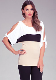 Colorblock Slit Sleeve Top at bebe