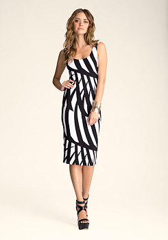 bebe Striped Midi Dress
