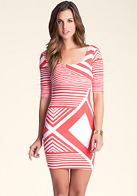 bebe Striped Bodycon Dress