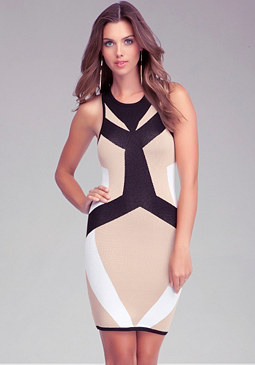 bebe High Neck Colorblock Dress