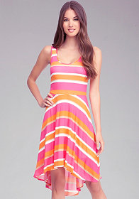 High Low Stripe Tank Dress at bebe