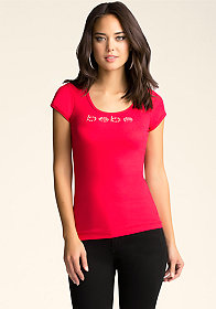 bebe bebe Logo Cap Sleeve Scoop Neck Tee