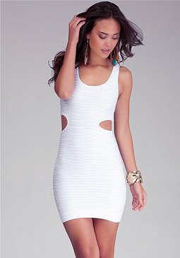 bebe Side Cutout Bodycon Tank Dress