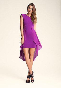 Mesh High Low Ruffle Dress at bebe