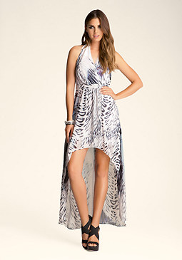 Printed High Low Halter Dress at bebe