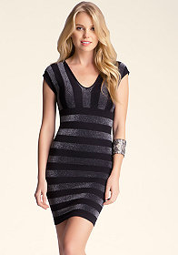 bebe Metallic Stripe V-Neck Dress